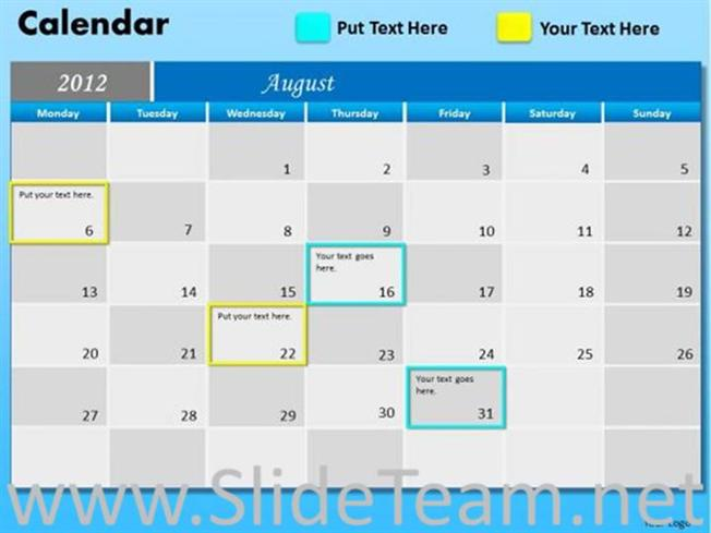 Milestone Calendar Ppt Template-Powerpoint Diagram