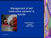 management of destructive behavior and suicide