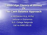Cambridge Theory of MoneyPP