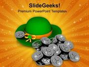 PATRICKS HAT AND SILVER COINS SYMBOL OF WEALTH POWERPOINT TEMPLATE