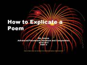 How to Explicate a Poem Part II