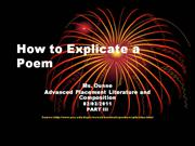 How to Explicate a Poem Part III[1]