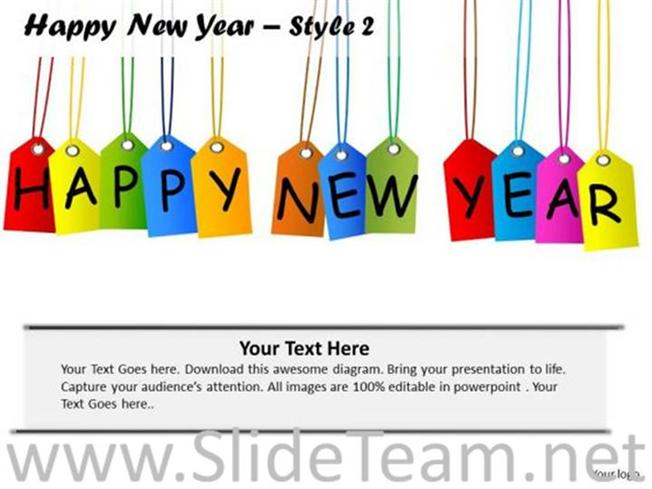 happy new year on sales tags powerpoint diagram