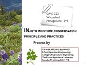 In-situ moisture conservation principle and practices