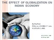 The Effect of globlisation on indian economy