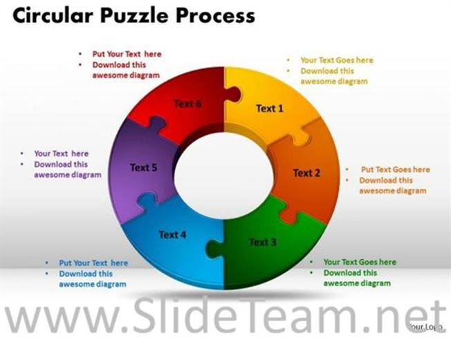 6 Stages Circular Jigsaw Puzzle Flow Process Powerpoint Diagram