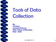 Tools of Data Collection