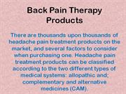 Back Pain Therapy Guide