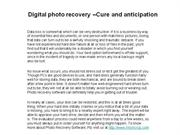 digital photo recovery –cure and anticipation