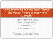 demand supply : using economics to study health
