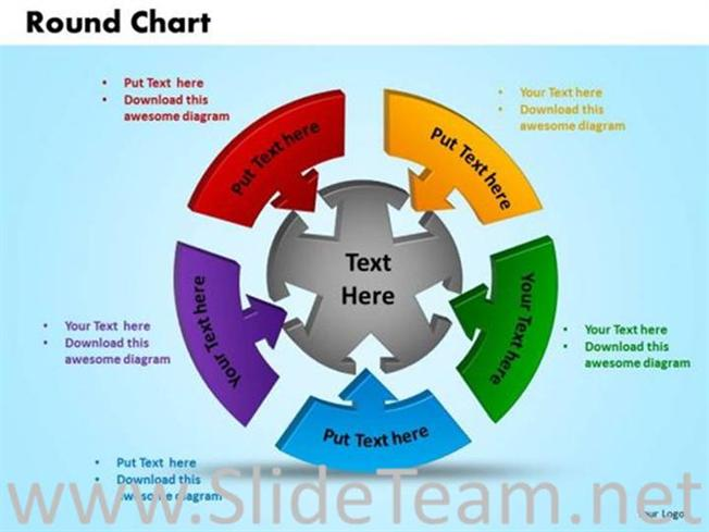 puzzle round chart with 5 stages-powerpoint diagram, Powerpoint templates