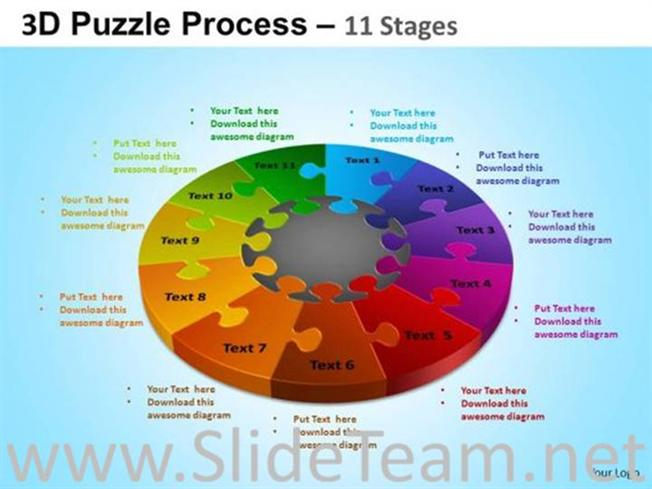 11 Segments Pie Chart Ppt Slide Powerpoint Diagram