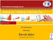 Business plan basics by M. Hariharan (Savior Faire)