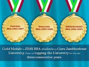 Gold Medal to JIMS BBA Students in topping the University