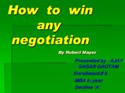 How to win any negotiation By Robert