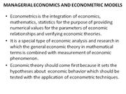 Managerial Economics and Econometric Models
