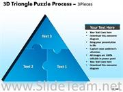 3d triangular jigsaw puzzle process chart 3 stages