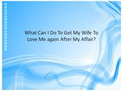 What Can I Do To Get My Wife To Love Me again After My affair?