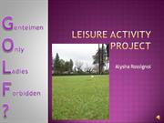 Leisure Activity Project