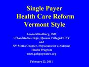 Health Care Reform Vermont Style