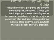 Physical Therapy Courses Guide