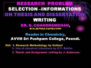 New-RESEARCH – PROBLEM SELECTION –INFORMATIONS ON THESIS
