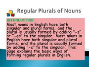 Regular Plurals of Nouns 1234