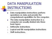 DATA MANIPULATION INSTRUCTIONS