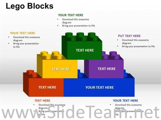 building lego bricks ppt template powerpoint diagram