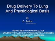Drug Delivery To Lung And Physiological Basis