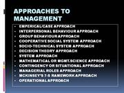 APPROACHES TO MANAGEMENT 2003