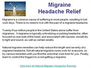 Migraine Headache Remedy