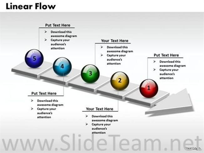 3d Linear Process Flow Diagram Powerpoint Diagram