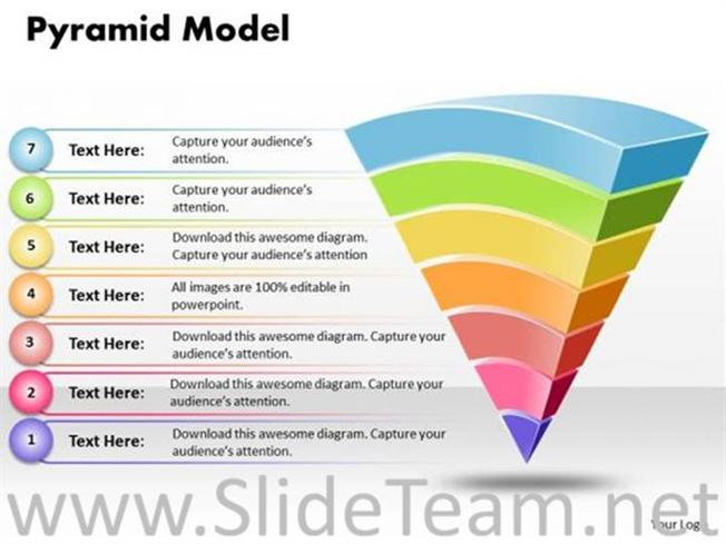 reverse 3d pyramid diagram with six stages-powerpoint diagram, Powerpoint templates