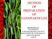 RECENT ADVANCES IN NANOPARTICLES