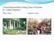 Citizen Responsibility During Time of Disaster