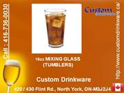 custom drinkware, tumblers, mixing glass, rocks, beverage, glassware