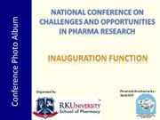 R K College of Pharmacy, Conference photoes - Inauguration function