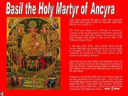 St. Basil the Holy Martyr of Ancyra