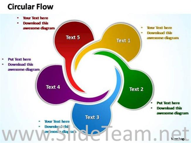 twisting arrows circular flow chart-powerpoint diagram, Modern powerpoint