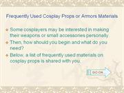 Cosplay Props or Armors Materials