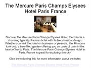 the mercure paris champs elysees hotel paris france