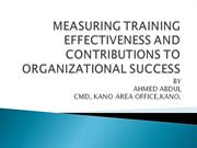 MEASURING TRAINING EFFECTIVENESS AND CONTRIBUTIONS TO ORGANIZATIONAL S