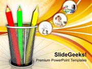PENCIL AND BASKET HOLDER EDUCATION POWERPOINT TEMPLATE
