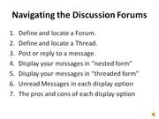 Navigating the Discussion Forums