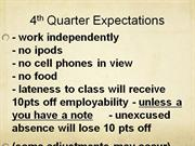 4th quarter expectations