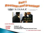 UNIT 1: MEETINGS AND GREETING - L3