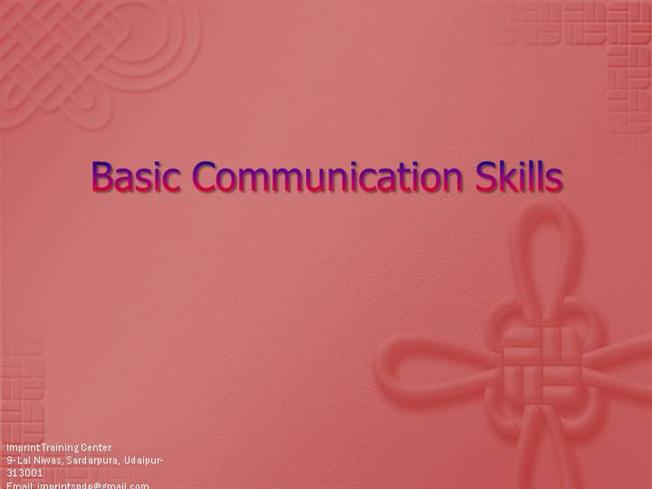 Basic Communication Skills authorSTREAM – Communication Skills Ppt