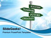 BUSINESS TEAMWORK FUTURE SIGNPOST PPT TEMPLATE