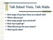 Talk School Visits Talk Maths
